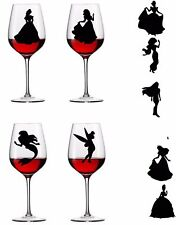 X16 Complete set of Princesses disney  Vinyl Decal Wine Glass stickers