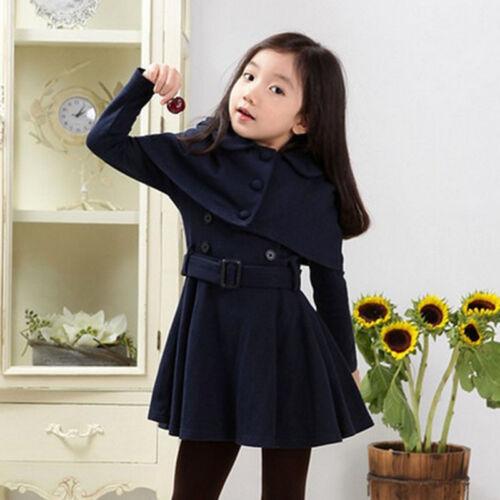 Warm Outwear Kids Girls Long Coats Wind Jacket Trench Cloak Swing Dress Winter////