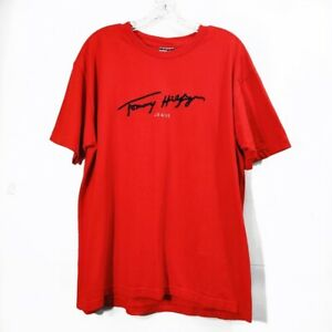 Tommy-Hilfiger-Red-Graphic-Short-Sleeve-Tshirt-Tee-Crewneck-Mens-Size-Medium-M