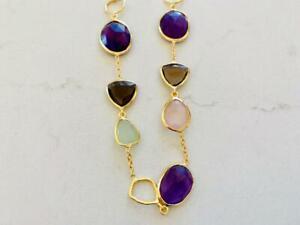 Gold-Sterling-Silver-Multi-Gemstone-Necklace-Amethyst-Rose-Smoky-Quartz-Prehnite