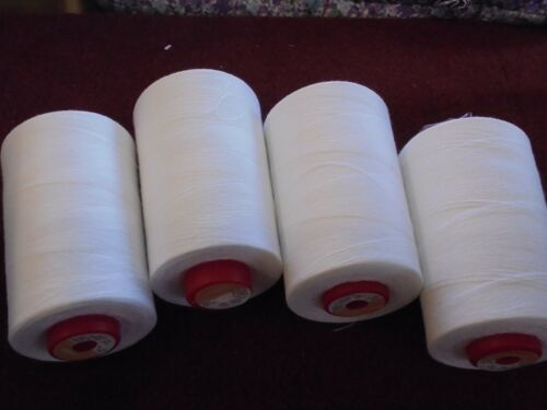 4 CONES 5000 YDS WHITE COMETA OVERLOCK SEWING MACHINE THREAD FREE DELIVERY