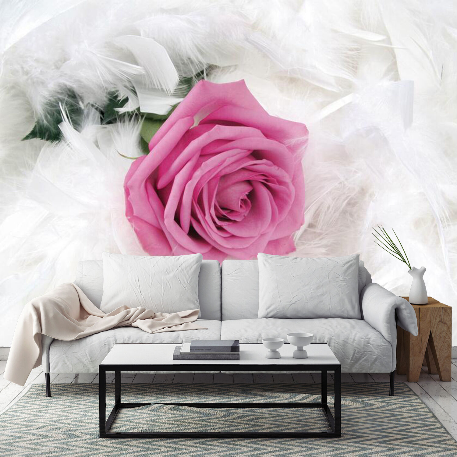 3D Snowy lila Rose 242 Wall Paper Wall Print Decal Wall Deco Indoor Wall
