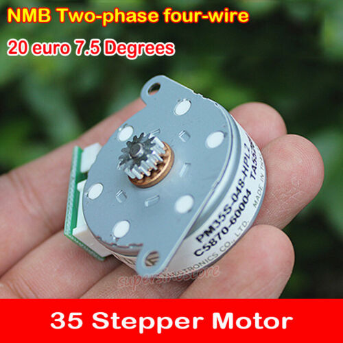 NMB Micro 35mm Stepper Motor 2-Phase 4-Wire Step 7.5 Degree Round Flat With Gear