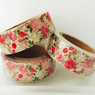 FLORAL WASHI TAPE: GOLD FOIL RED ROSES WASHI TAPE- NEW