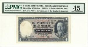 Straits-Settlements-1-Dollar-Currency-Banknote-1933-PMG-45-CHOICE-XF