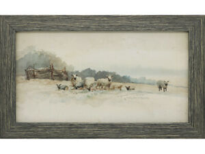 Sheep-in-Country-Landscape-Original-Watercolour-Painting-Early-20th-Century