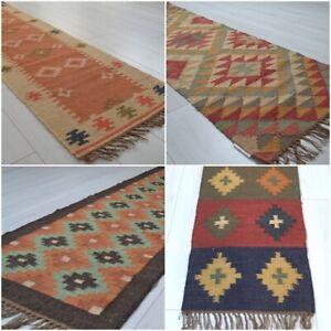 Kilim-Hall-Runner-Indian-Jute-Wool-Hand-Knotted-180x60cm-6x2ft-Geometric