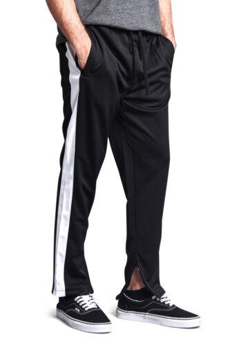 TR503-DD5C Men/'s Side Stripe Ankle Zip  Stretch Drawstring  Workout Track Pants