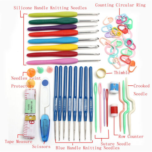 16 Taille Crochet Crochets Aiguilles Tissage fil Stitches tricoter Craft Tool Kit Case