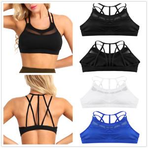 d2b65f38eb Sexy Women s Mesh Racerback Running Yoga Sports Bra Padded Support ...