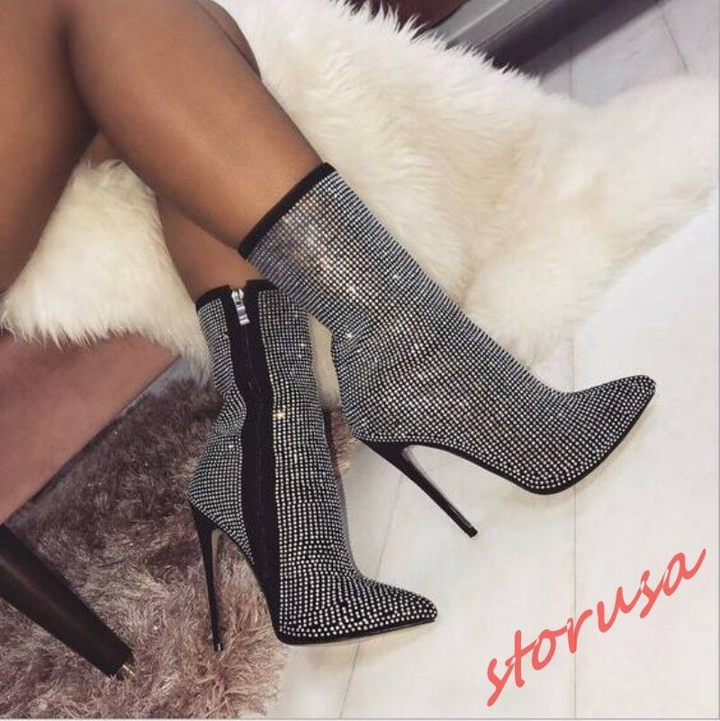 Womens Rhinestone Pointy Toe Stiletto High Heels Ankle Boots Pump Party shoes sz
