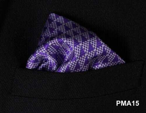 PMA Check Floral Men Silk Pocket Square Hanky Wedding Party Handkerchief