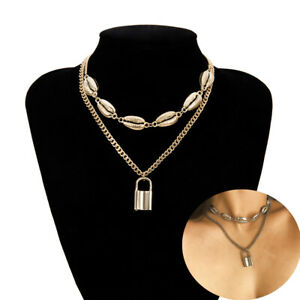 Jewelry-Gold-Silver-Collar-Statement-Punk-Choker-PadLock-Pendant-Shell-Necklace