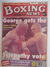 Boxing News 28 Apr 1995 Foreman-Schulz Eubank McCracken Dunne Armour Bruce Scott