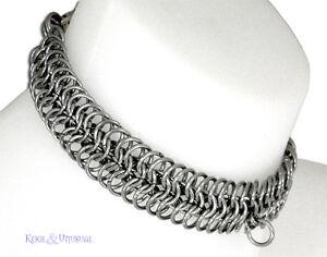 NARROW Steel Chain Mail Slave Collar by SINPATIKO * Goth Punk Emo