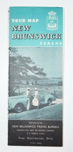Vintage New Brunswick Canada Road Map New Brunswick Travel Bureau