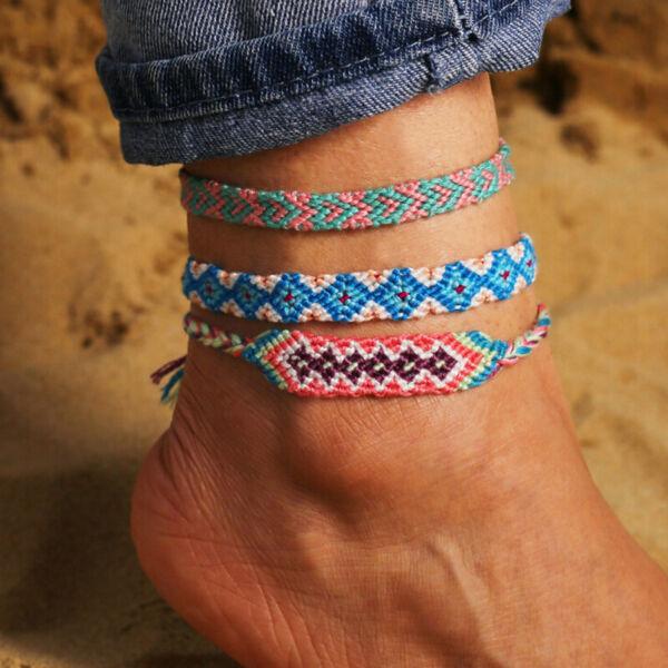 Boho Vintage Weave Baumwolle Multi-color Fußkettchen Kette Handgemachte Frtpi