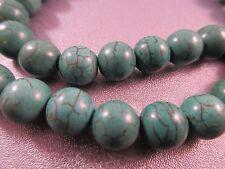Dark Green Magnesite Round 10mm Beads 42pcs