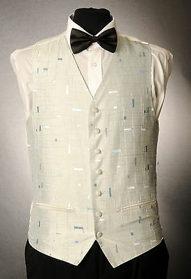 W - 1010. MENS/BOYS SILVER AND SKY BLUE WAISTCOAT / DRESS/ SUIT / PARTY / FORMAL