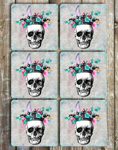 Skull and Flowers Drink Coaster Set of 6 Non Slip Neoprene Square Coaster Set