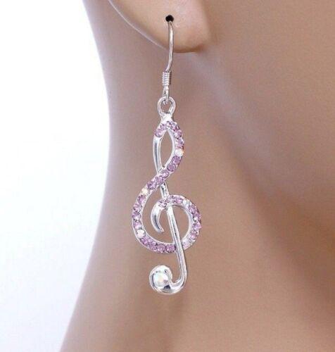 """#E520B percé Hook Treble Clef rose AB cristal musique Note Boucles D/'oreilles 2/"""" Long"""