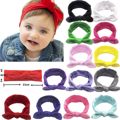 Newborn Kids Baby Girls Hair Band Cute Elastic Bow Knotted Rabbit Headband 13CM