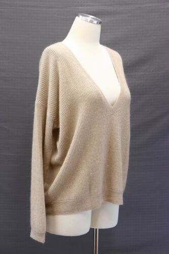 2625 A181 M Sz Soft Nwt Sequined Rib Brunello Cucinelli hals V Knit Mohair uld O77dPqgn