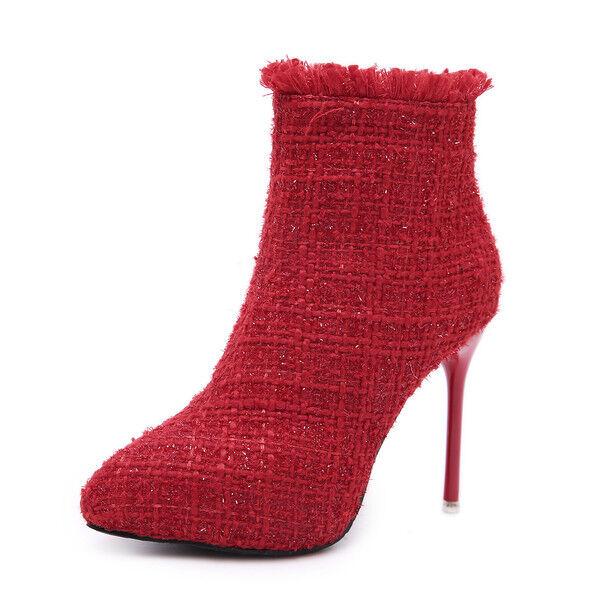 botas stivaletti stivaletti stivaletti stiletto 10 cm rojo tronchetto eleganti simil pelle 1535  al precio mas bajo