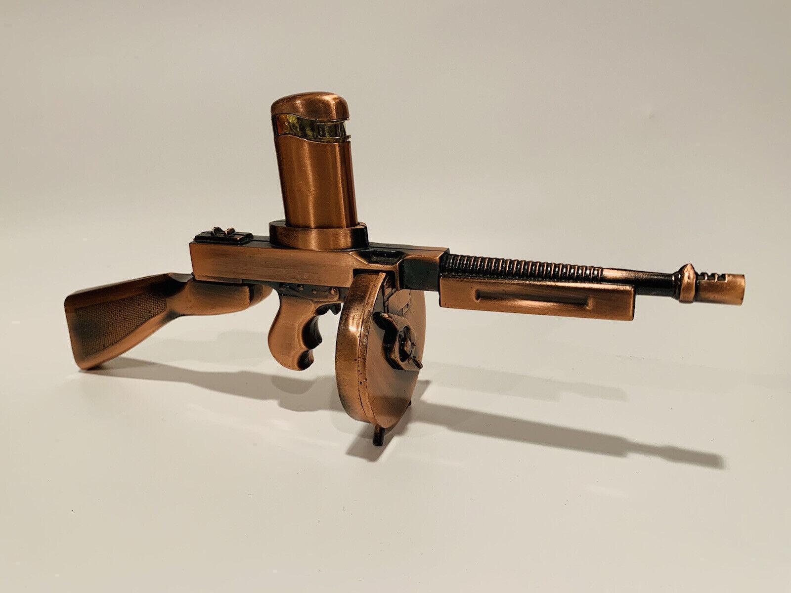 Vintage Thompson Tommy Machine Gun Butane Lighter & Holder 12