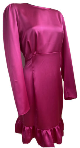 River Island Rose chaud Plus taille satin soyeux à manches longues Robe Taille UK 24 RRP £ 38