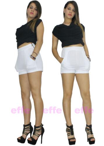 Shorts donna pantaloncini vita alta slim aderenti elasticizzati eleganti 8157