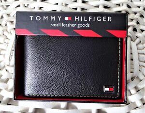 Men's Leather Wallet 'Tommy Hilfiger' Bifold, BLACK,Coin Pouch, MRP $60.00, SALE