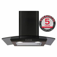 Cda Ecp62bl 60cm Curved Glass Cooker Hood Extractor Black 391m3/hr