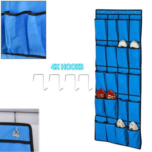 20 Pocket Hanging Over Door Shoe Organiser Storage Rack Tidy Space 4 HOOKS S247