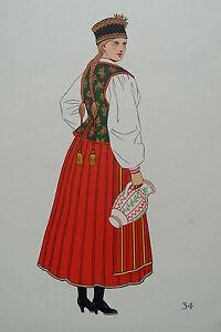 -2-5-34 Gravure Costume De Kurpie (puszczanskie) Pologne Forte RéSistance à La Chaleur Et à L'Usure