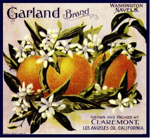 Claremont California Garland Orange Citrus Fruit Crate Label Art Print