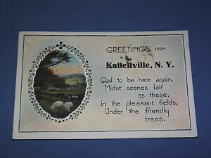 VINTAGE 1930 GREETINGS FROM KATTELLVILLE    NEW YORK   POSTCARD