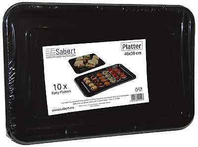 10 Quality 46x30cm Plastic Black Sandwich Platter Party Food Large Serving Trays