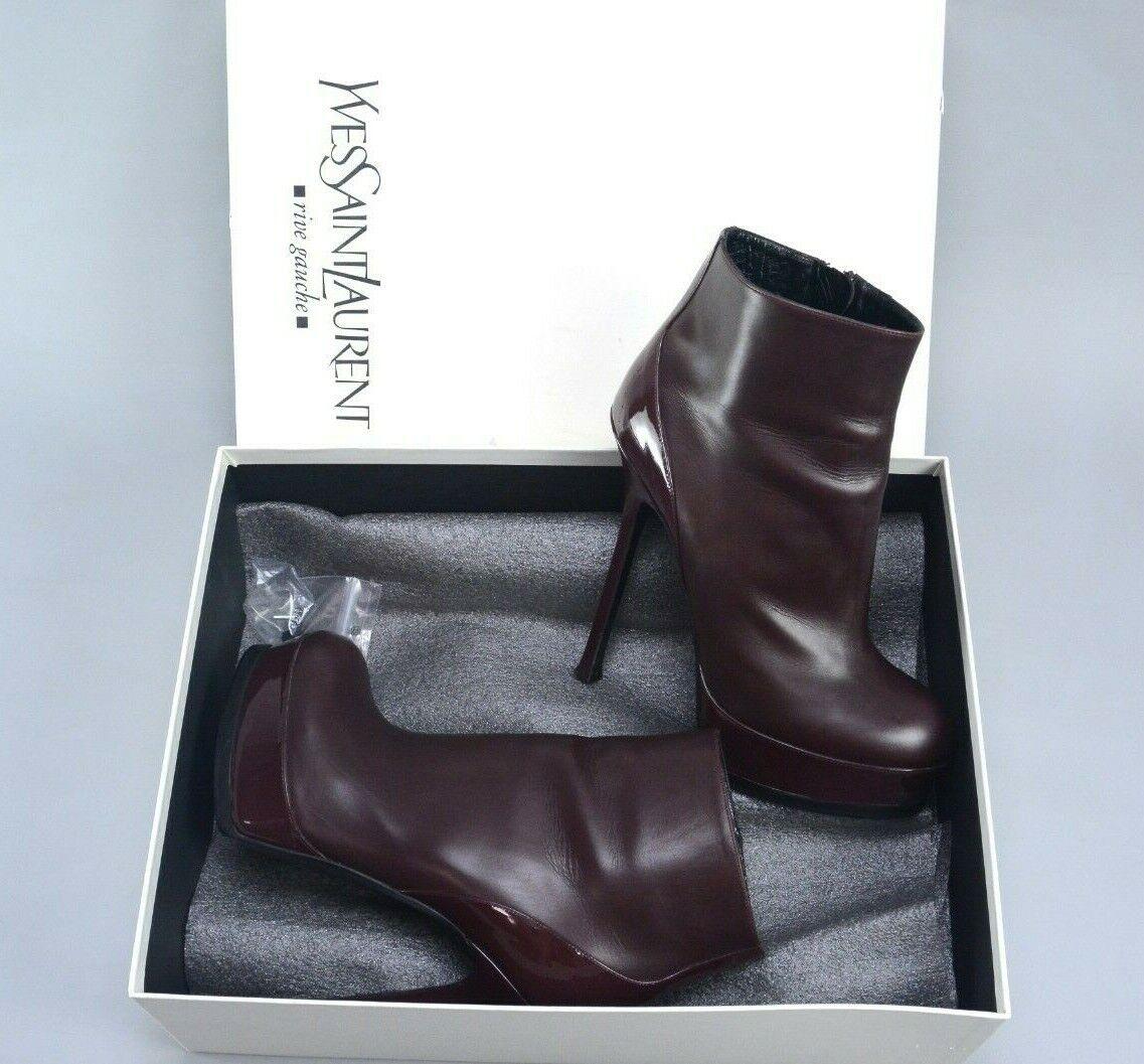 SAINT LAURENT Paris YSL Brown Leather Heels Ankle Boots 40 US10