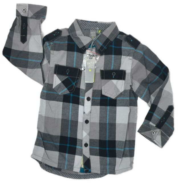 Petit Lem Toddler Boys Shirt Gray Size 2T Long Sleeve Plaid Cotton Button Down