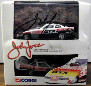 Corgi 1995 John Force 2 Car World Championship 1 64 Funny Car Set Autographed