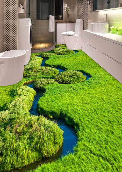 3D Grassland Stream 1 Floor WallPaper Murals Wall Print Decal 5D AJ WALLPAPER