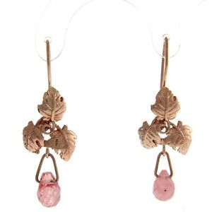 New-Pair-of-9k-Rose-Gold-Cherry-Quartz-Hanging-Earrings