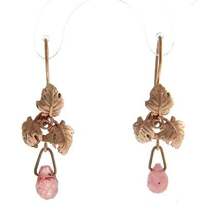 New Pair of 9k Rose Gold Cherry Quartz Hanging Earrings