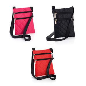 Ladies-Padded-Cross-Body-Hip-Bag-Shoulder-Strap-Purse-Zipped-Pink-Black-Red