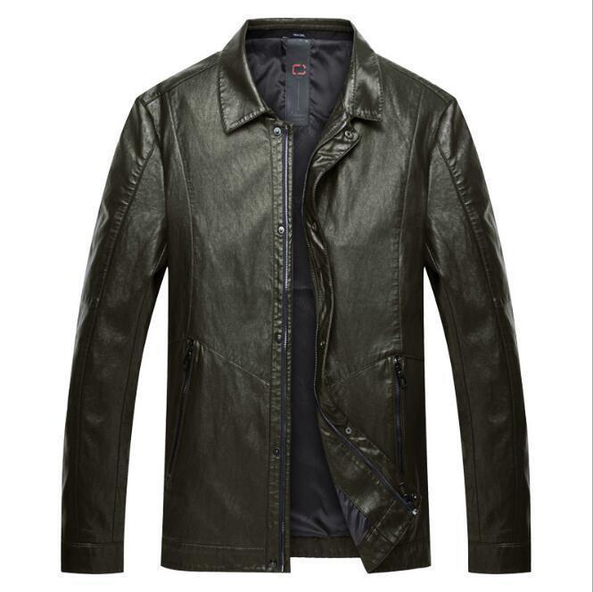 New Men's Fashion Oversize Faux Leather Coat Warm Casual Lapel Parka Outwear