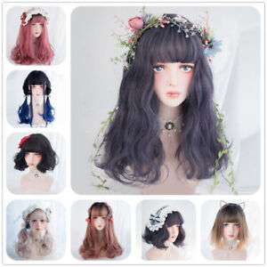 Lolita-Cute-Ombre-Long-Short-Bob-Curly-Wavy-Bangs-Japanese-Party-Cosplay-Wig