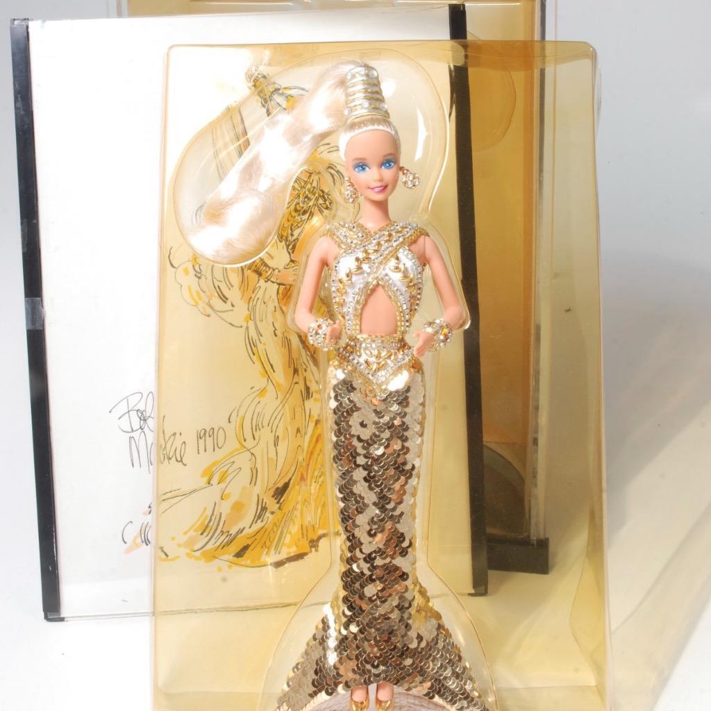 Bob mackie barbie De oro Vintage 1990 en caja de presentación original