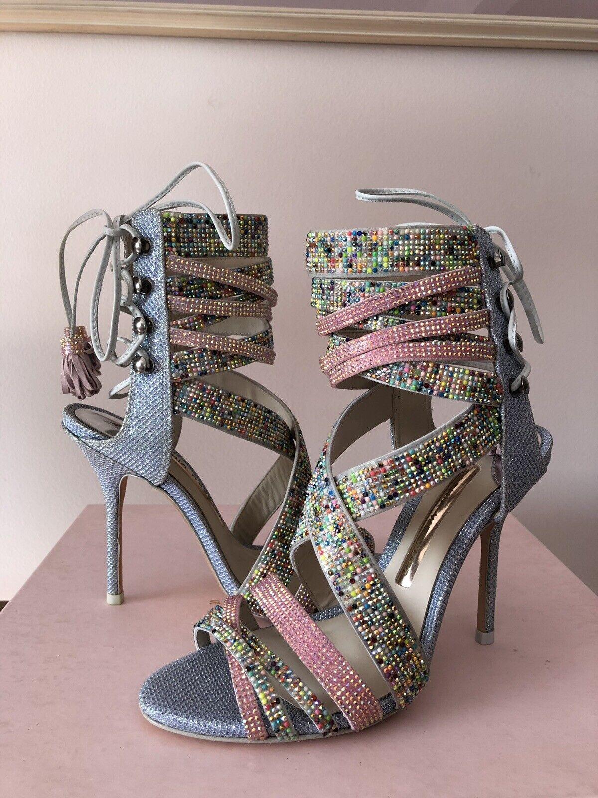 Sophia Webster Adeline Dreamy Crystal Pink bluee Sandal High Bootie SzUS6.5 36.5