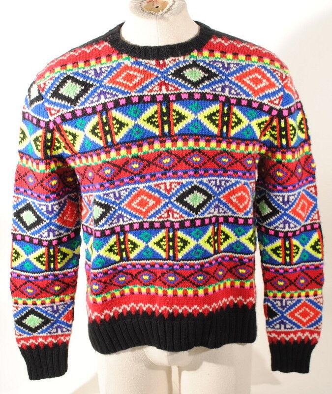 Polo Ralph Lauren Indian Hand Knit Neon Fair Isle Wool Ski Sweater Sz. M 795 E1F
